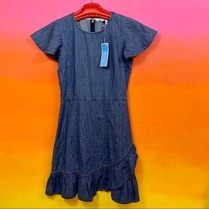 draper james • blue chambray faux wrap dress 4